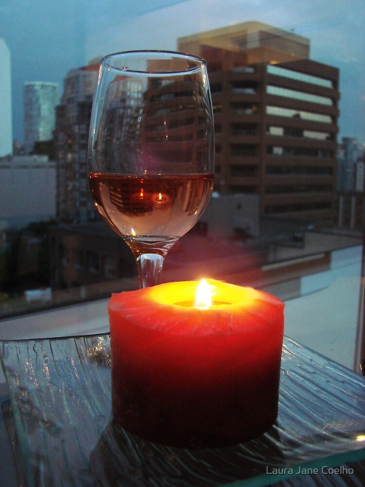 Rose Wine with candle light by Laura Jane Coelho