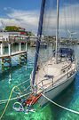 Boat docked at the marina in Nassau, The Bahamas by Jeremy Lavender Photography