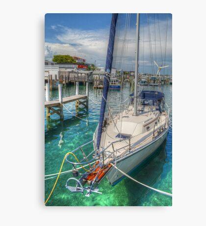 Boat docked at the marina in Nassau, The Bahamas Canvas Print
