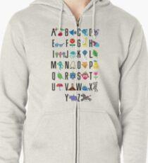 Alphabet Cute  Zipped Hoodie