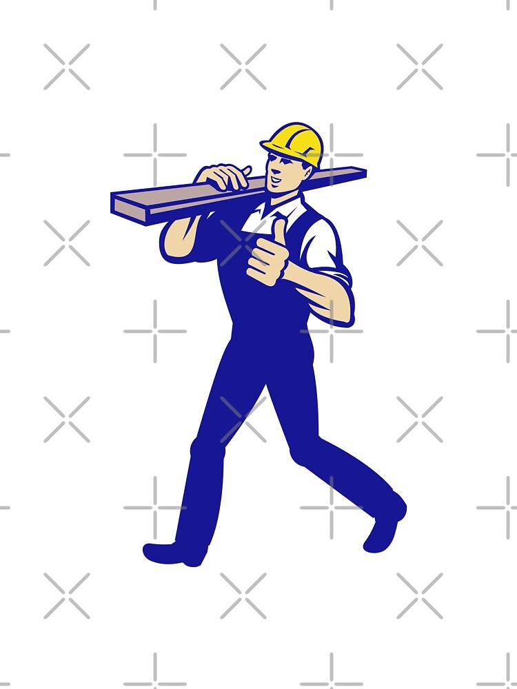Carpenter Tradesman Carrying Timber Lumber by patrimonio