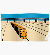 Diesel Train High Angle Retro Poster
