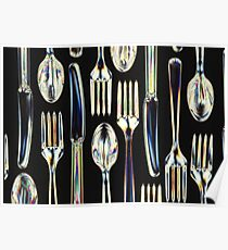 Plastic Knives, Forks and Spoons Arranged In A Pattern Poster