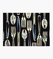 Plastic Knives, Forks and Spoons Arranged In A Pattern Photographic Print