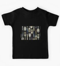 Plastic Knives, Forks and Spoons Arranged In A Pattern Kids Tee