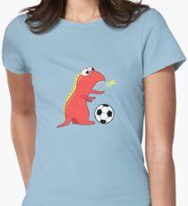 Blue Funny Cartoon Dinosaur Soccer Women's Fitted T-Shirt