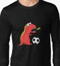 Black Funny Cartoon Dinosaur Soccer Long Sleeve T-Shirt