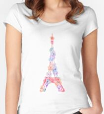 Flower Eiffel Tower Paris Women's Fitted Scoop T-Shirt