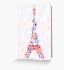 Flower Eiffel Tower Paris Greeting Card