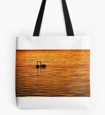 Swans on Gold Tote Bag