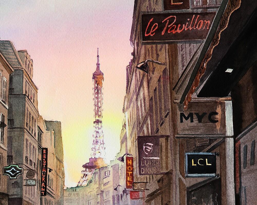Sunset in Paris by Irina Sztukowski
