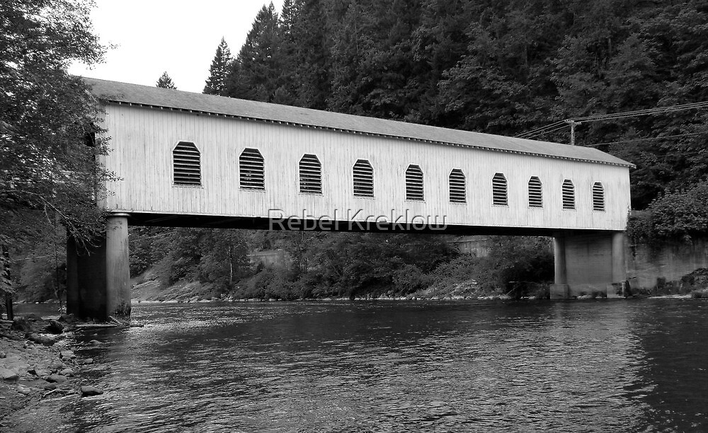 Goodpasture Covered Bridge B&W - Lane County, OR by Rebel Kreklow