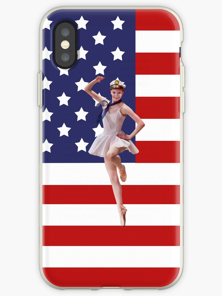 Patriotic Ballerina and American Flag iPhone Case by Delores Knowles