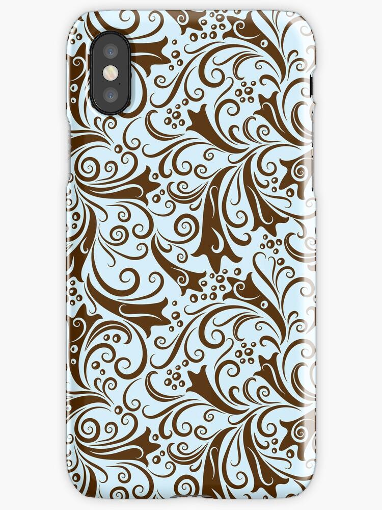 Brown And Blue Elegant Vintage Floral Pattern  by artonwear
