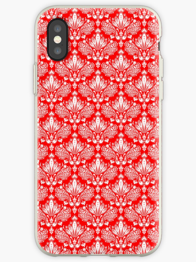 Red And White Elegant Vintage Floral Damasks by artonwear