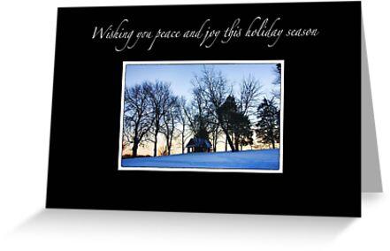 Winter Sunset Christmas Card by daphsam