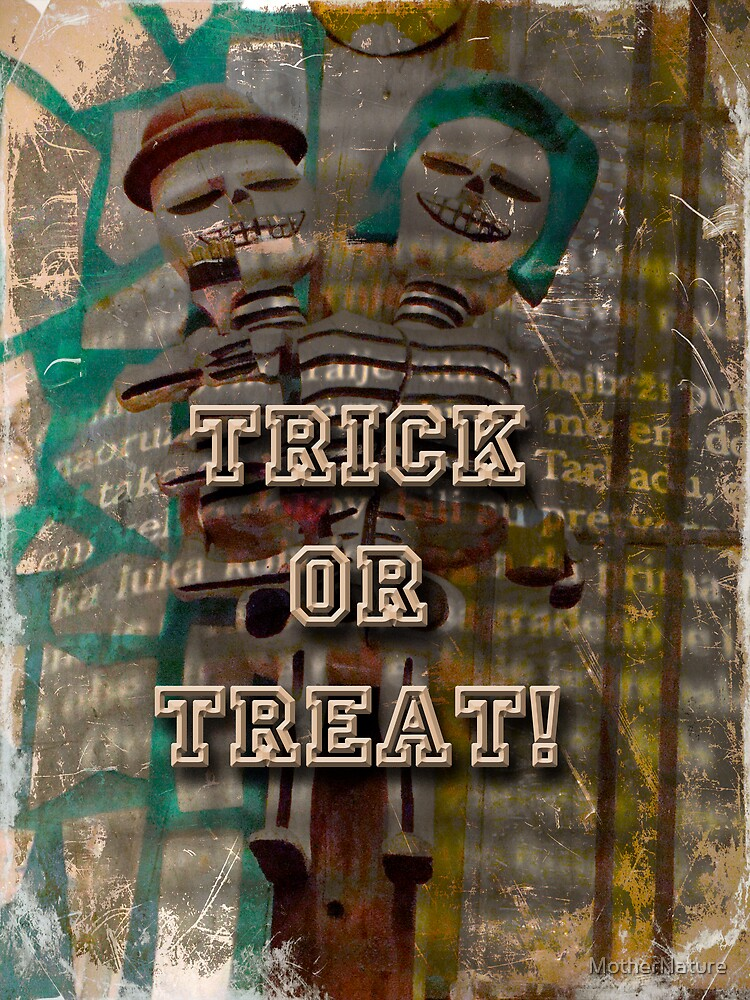 Halloween Trick or Treat Skeleton Greeting Card by MotherNature