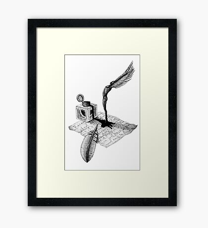 Inspiration surreal black and white pen ink drawing Framed Print