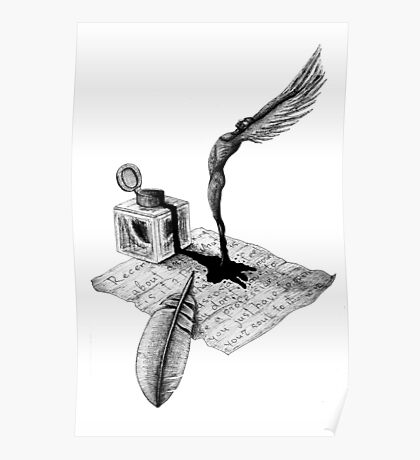Inspiration surreal black and white pen ink drawing Poster