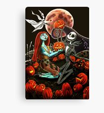 Jack and Sally Pumpkin Patch  Canvas Print