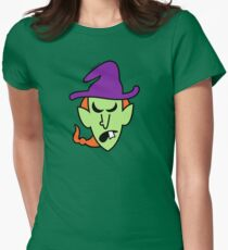 Angry Halloween Witch Womens Fitted T-Shirt