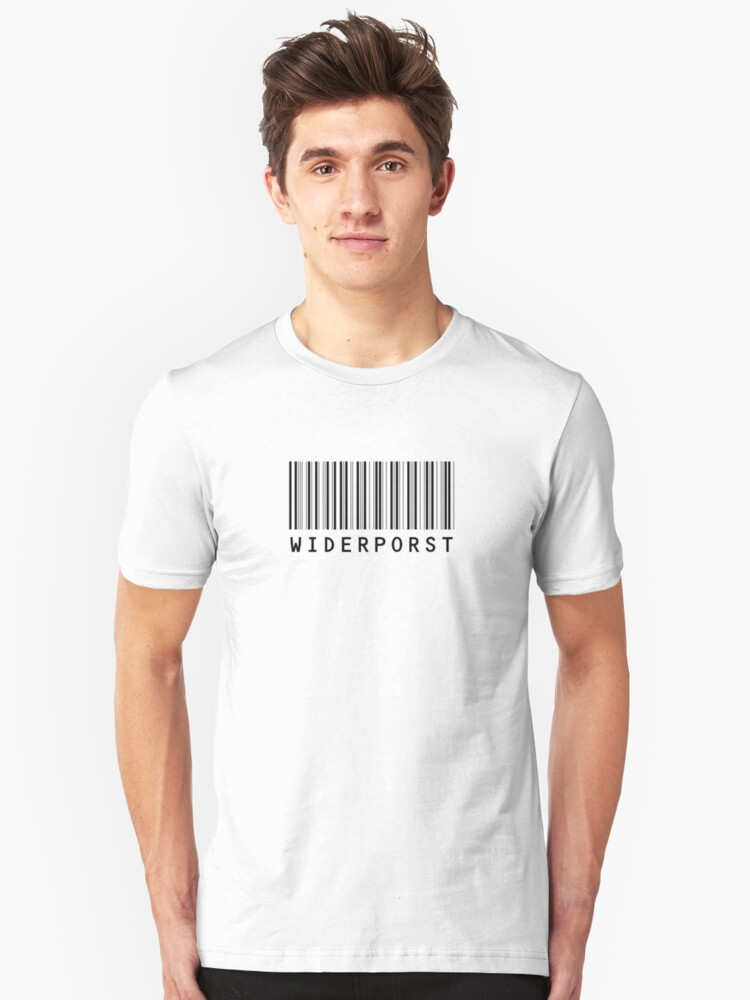 Widerporst Barcode (black) Unisex T-Shirt Front