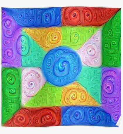 DeepDream Color Squares Visual Areas 5x5K v17 Poster