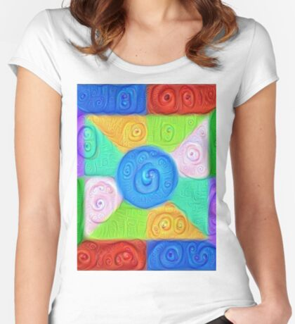 DeepDream Color Squares Visual Areas 5x5K v17 Fitted Scoop T-Shirt