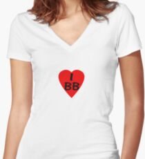 I Love BB - Country Code Barbados T-Shirt & Sticker Women's Fitted V-Neck T-Shirt