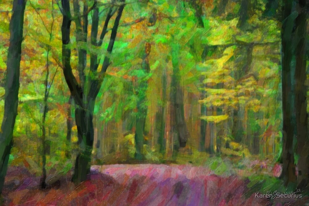 In the forest - Aumuhle oil02 by Karen  Securius