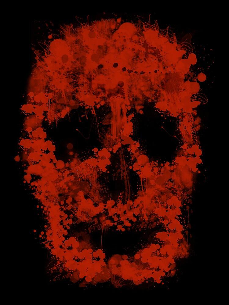 Splatter Skull (red of black) by Bela-Manson