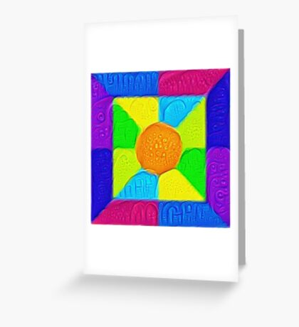 DeepDream Color Squares Visual Areas 5x5K v19 Greeting Card