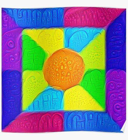 DeepDream Color Squares Visual Areas 5x5K v19 Poster
