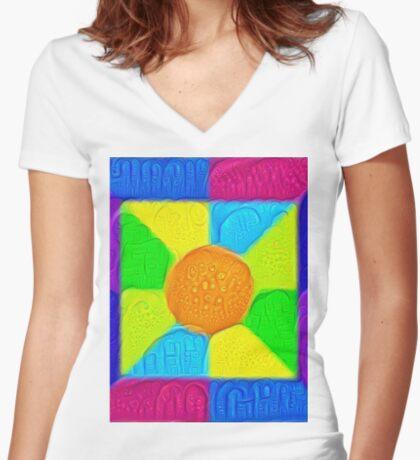DeepDream Color Squares Visual Areas 5x5K v19 Fitted V-Neck T-Shirt