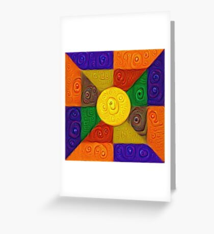 DeepDream Color Squares Visual Areas 5x5K v20 Greeting Card