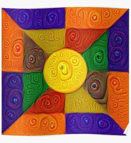 DeepDream Color Squares Visual Areas 5x5K v20 Poster