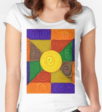 DeepDream Color Squares Visual Areas 5x5K v20 Fitted Scoop T-Shirt