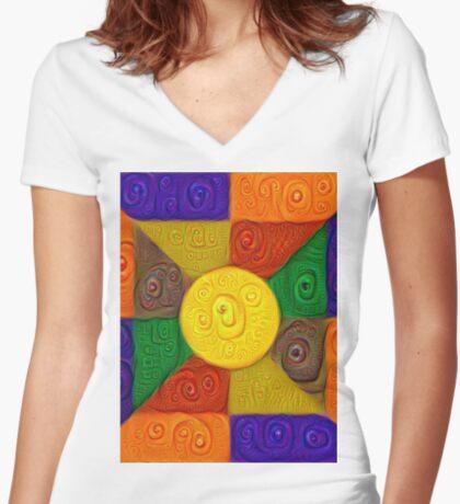DeepDream Color Squares Visual Areas 5x5K v20 Fitted V-Neck T-Shirt