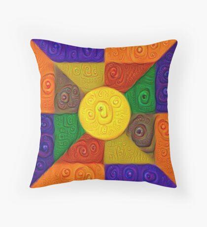 DeepDream Color Squares Visual Areas 5x5K v20 Throw Pillow