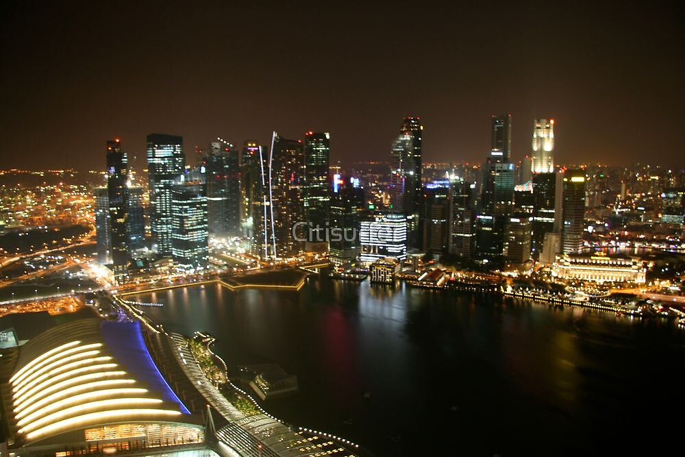 Singapore Harbour by Night by Citisurfer