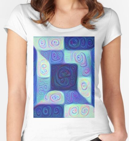 DeepDream Color Squares Visual Areas 5x5K v15 Fitted Scoop T-Shirt