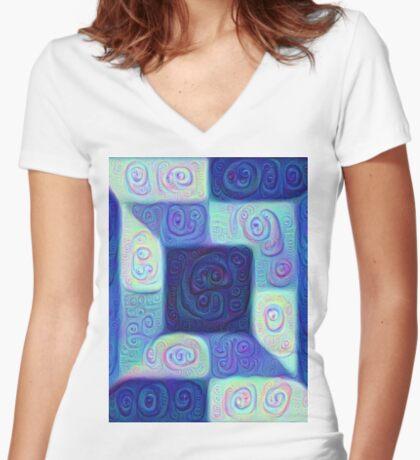 DeepDream Color Squares Visual Areas 5x5K v15 Fitted V-Neck T-Shirt