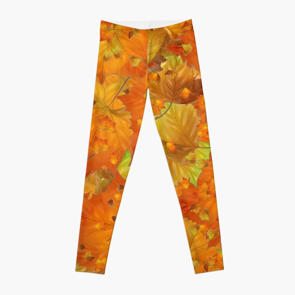 Golden Autumn Leaves Leggings Front