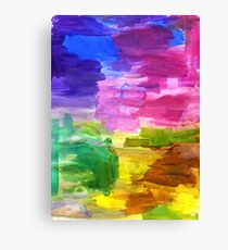 Colorful Hand Painted Rainbow Acrylic Abstract Psychedelic Art Canvas Print