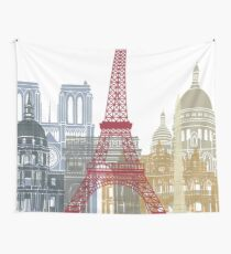 Paris skyline poster Wall Tapestry