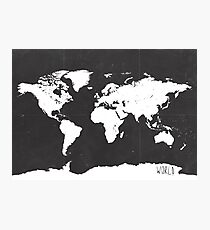 World map black and white F Photographic Print