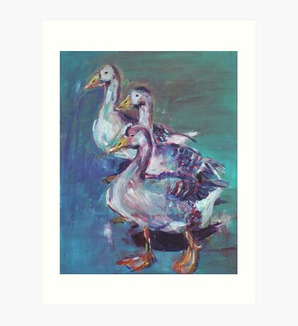 A giggle of geese Art Print