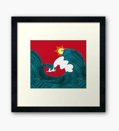 Shark Surfing Framed Print