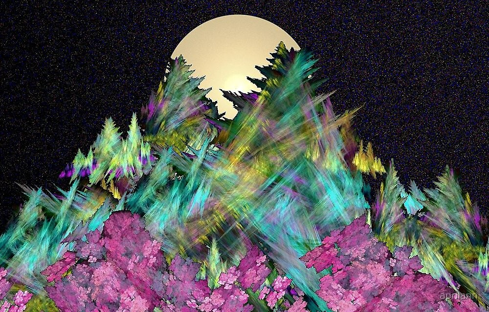 Moon Behind the Mountain by aprilann