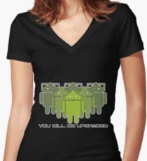 Cyberdroids (ICS) - You will be upgraded Women's Fitted V-Neck T-Shirt